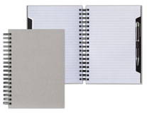 gray wirebound cutaway journal with pen loop and pen included