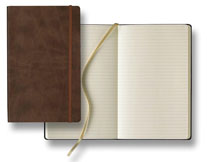 brown faux leather casebound journal with elastic closure