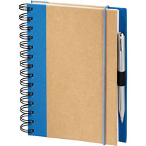 twin wire recycled notebook with fabric trim